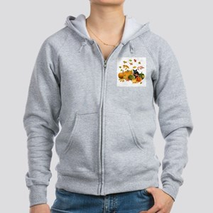 Black Cat Pumpkins Women's Zip Hoodie