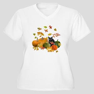Black Cat Pumpkins Women's Plus Size V-Neck T-Shir