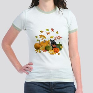 Black Cat Pumpkins Jr. Ringer T-Shirt