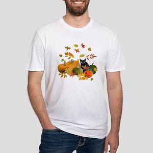 Black Cat Pumpkins Fitted T-Shirt