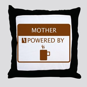 Mother Powered by Coffee Throw Pillow