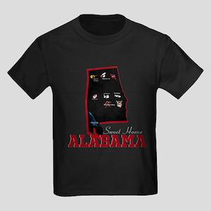 Alabama Map Kids Dark T-Shirt