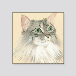 """Norwegian Forest Cat Painting Square Sticker 3"""" x"""