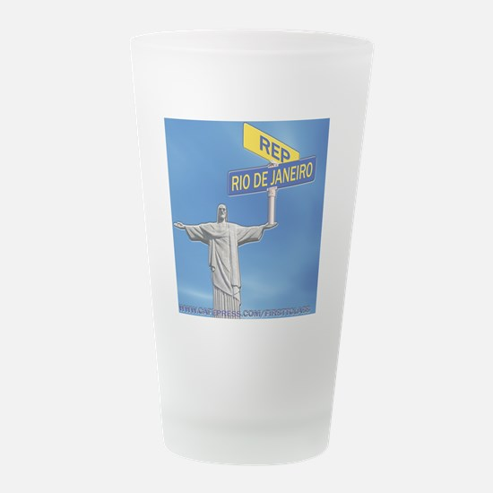 rep rio..png Frosted Drinking Glass