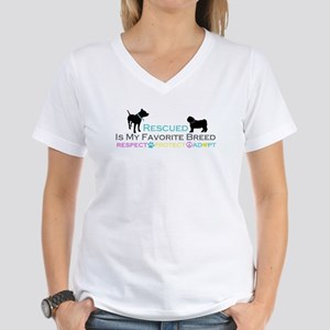 Rescued Is Favorite Breed Women's V-Neck T-Shirt