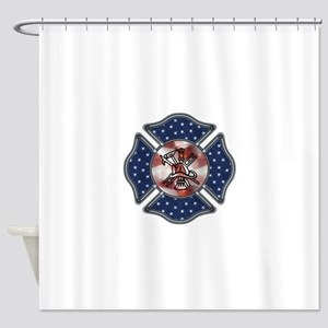 Patriotic Fire Dept Shower Curtain