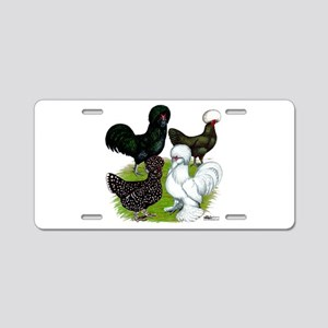 Four Crested Chickens Aluminum License Plate