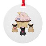 Cupcake Pug Dogs Round Ornament