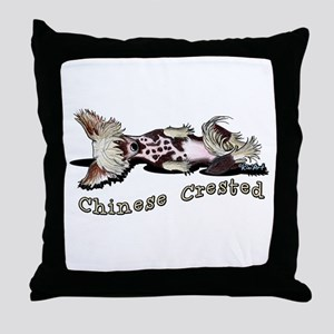 Flirty Chinese Crested Throw Pillow