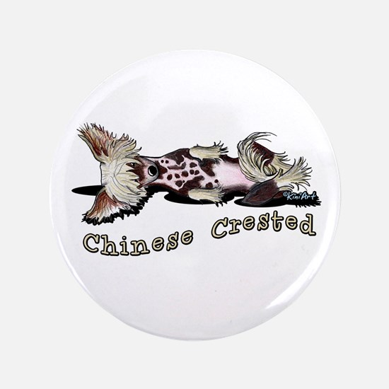 "Flirty Chinese Crested 3.5"" Button"