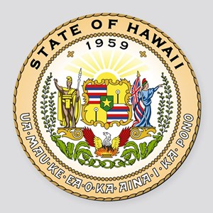 Hawaii State Seal Round Car Magnet