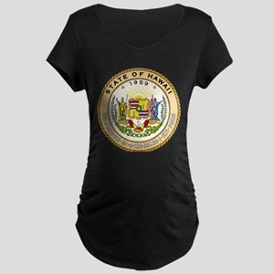 Hawaii State Seal Maternity Dark T-Shirt
