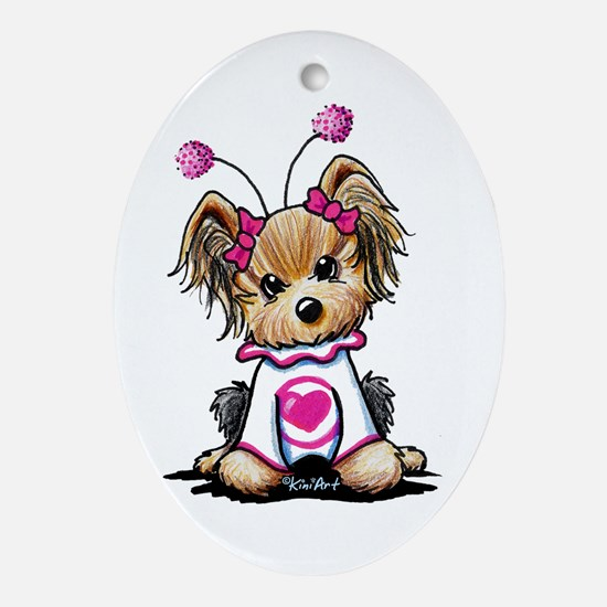 Yorkie Luv Bug Ornament (Oval)