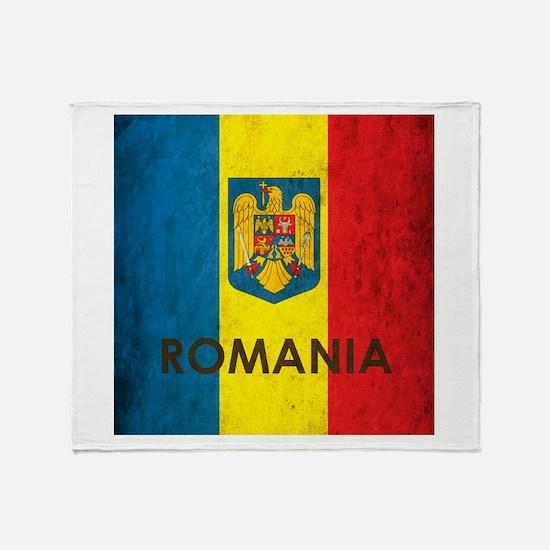 Romania Grunge Flag Throw Blanket