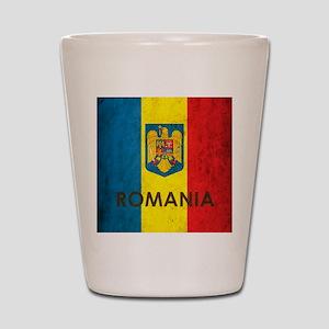 Romania Grunge Flag Shot Glass