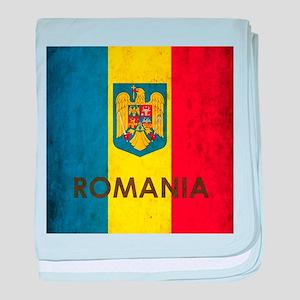 Romania Grunge Flag baby blanket
