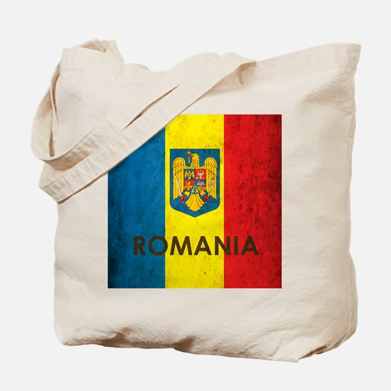Romania Grunge Flag Tote Bag