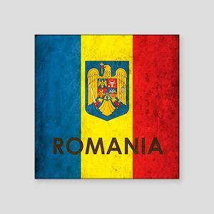 "Romania Grunge Flag Square Sticker 3"" x 3"""
