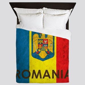 Romania Grunge Flag Queen Duvet