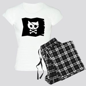 Pirate Kitty Jolly Roger Flag Women's Pajamas