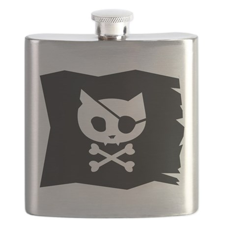 Pirate Kitty Jolly Roger Flag Flask