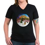 XMusic2-Collie (SW) Women's V-Neck Dark T-Shirt