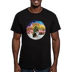 XMusic2-Collie (Tri) Men's Fitted T-Shirt (dark)