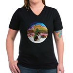 XMusic2-Collie (Tri) Women's V-Neck Dark T-Shirt
