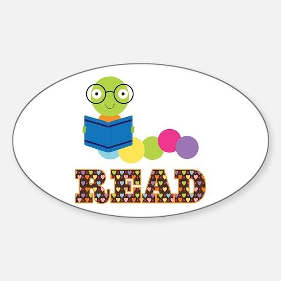 Fun Read Bookworm Sticker (Oval)