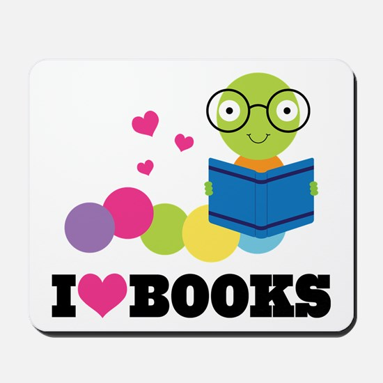 Bookworm I Heart Books Mousepad