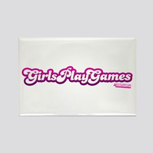 Girls Play Games Rectangle Magnet