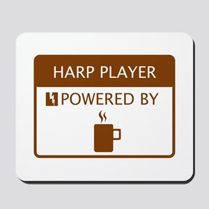 Harp Player Powered by Coffee Mousepad
