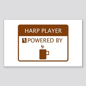 Harp Player Powered by Coffee Sticker (Rectangle)