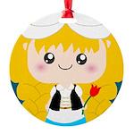Cute Cartoon Girl from Holland Round Ornament