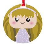 Kawaii cartoon Girl Round Ornament