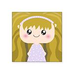 Kawaii cartoon Girl Square Sticker 3