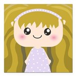 Kawaii cartoon Girl Square Car Magnet 3