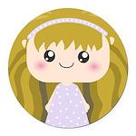 Kawaii cartoon Girl Round Car Magnet