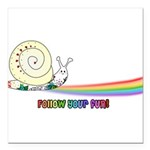 Rainbow Follow Your Fun Cute Snail Square Car Magn