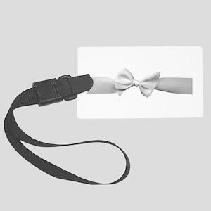 White Ribbon bow Large Luggage Tag