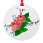 Vintage English Pink Roses Round Ornament