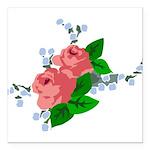 Vintage English Pink Roses Square Car Magnet 3