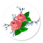 Vintage English Pink Roses Round Car Magnet