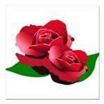 Two Red Roses Square Car Magnet 3