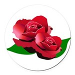 Two Red Roses Round Car Magnet