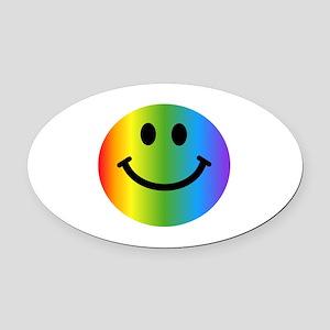 Rainbow Smiley Face Oval Car Magnet