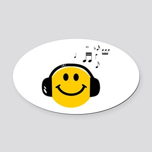 Music Love Smiley Oval Car Magnet