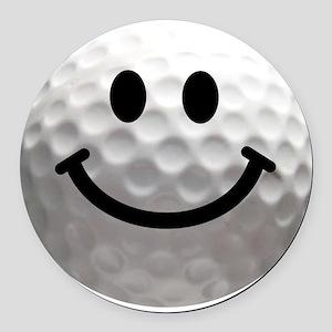 Golf ball smiley Round Car Magnet