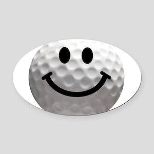 Golf ball smiley Oval Car Magnet