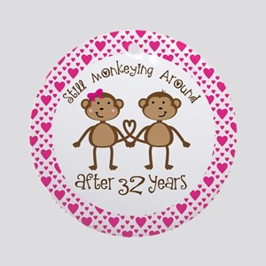 32nd Anniversary Love Monkeys Ornament (Round)